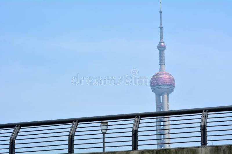 Shanghai - Oriental Pearl Tower. SHANGHAI, CN - MAR 15 2015:Oriental Pearl Tower in Shanghai, China.At 468 m (1,535 feet) high, it was the tallest structure in stock photography