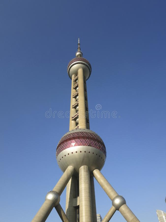 Shanghai Oriental Pearl Tower in Front of Blue Sky stock photo