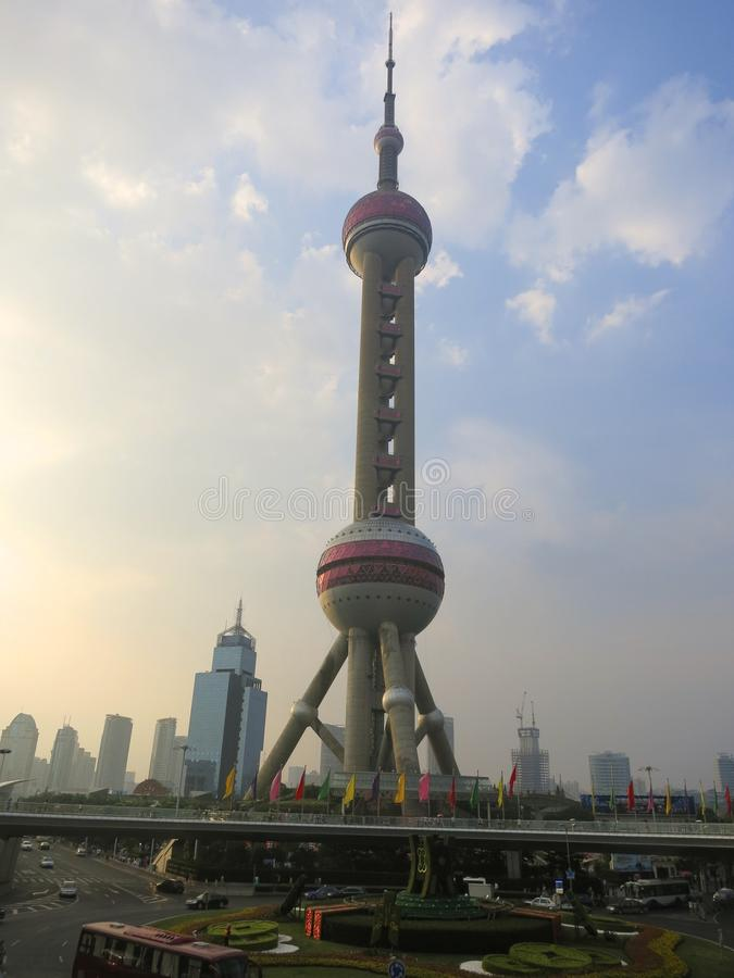 Shanghai Oriental Pearl TV Tower in Afternoon Pre-Sunset stock image