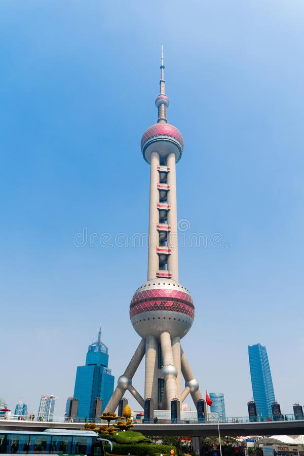 Shanghai Oriental pearl TV tower building in Shanghai Downtown skyline, China. Financial district and business centers in smart. City in Asia. Skyscraper and stock photo