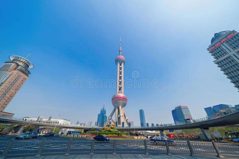 Shanghai Oriental pearl TV tower building in Shanghai Downtown skyline, China. Financial district and business centers in smart. City in Asia. Skyscraper and royalty free stock image