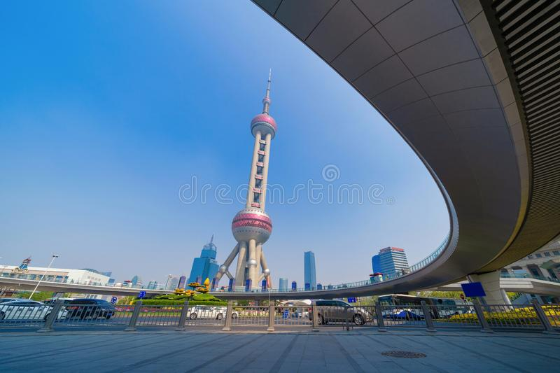 Shanghai Oriental pearl TV tower building in Shanghai Downtown skyline, China. Financial district and business centers in smart. City in Asia. Skyscraper and royalty free stock photos