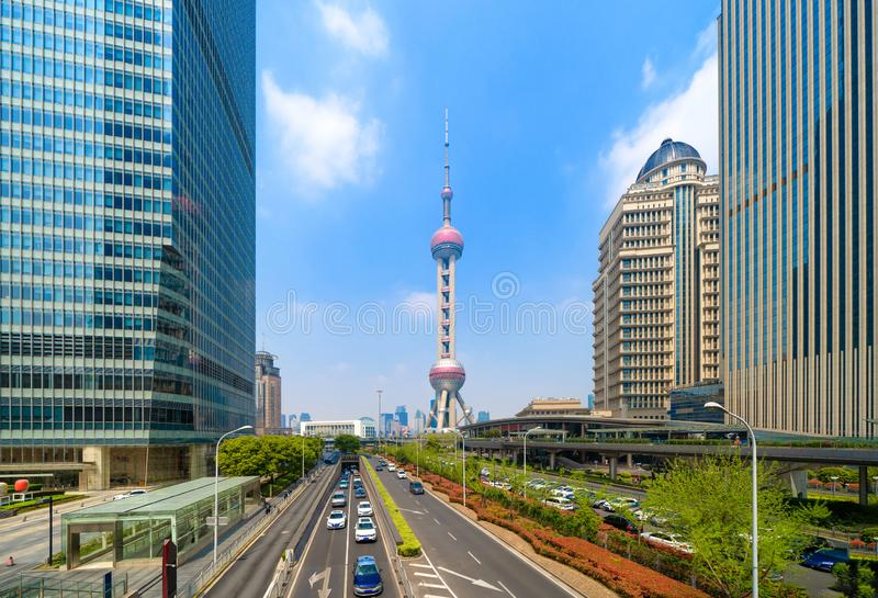 Shanghai Oriental pearl TV tower building in Shanghai Downtown skyline, China. Financial district and business centers in smart. City in Asia. Skyscraper and royalty free stock images