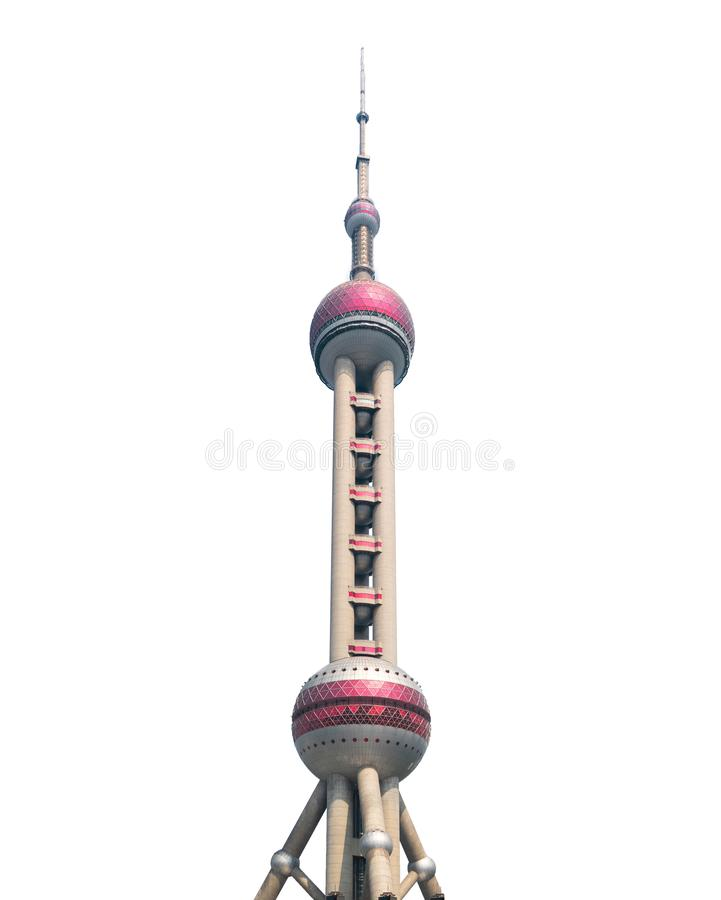 Shanghai Oriental pearl TV tower building isolated on white background in Shanghai Downtown skyline, China royalty free stock photography