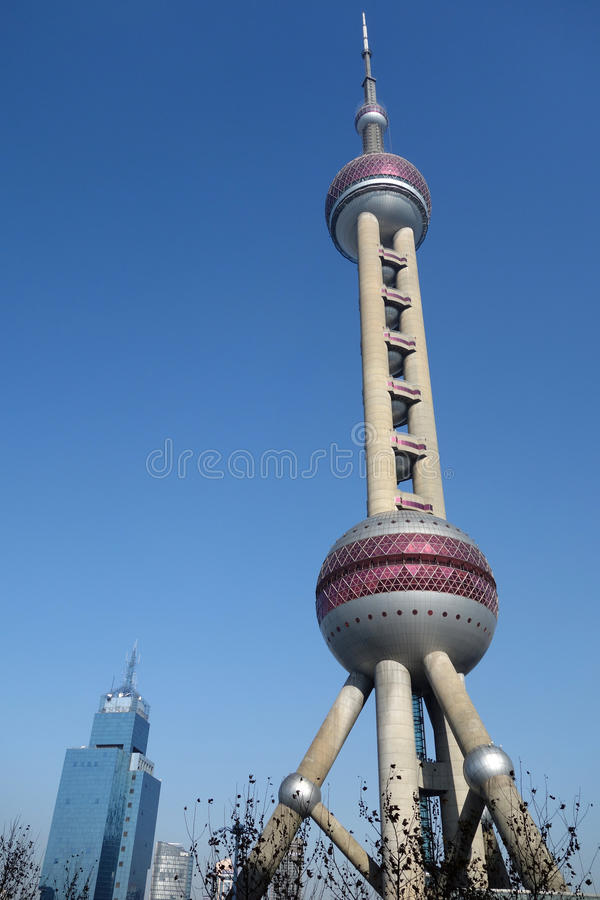 Shanghai oriental pearl tv tower. Located in Shanghai Lujiazui business and financial center stock image