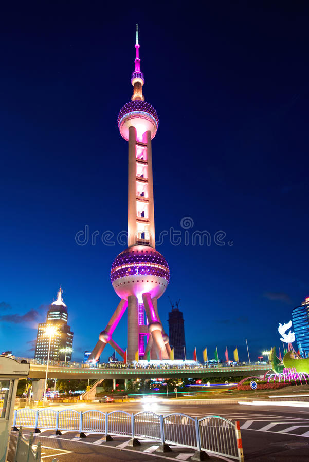 Shanghai Pearl Tower at Night. A beautiful view of Shanghai Pearl Tower at night stock photo