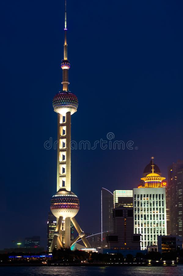 Oriental Pearl TV and Radio Tower, Pudong, Shanghai stock photo