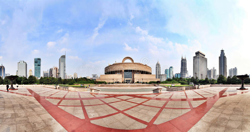 Shanghai people's square panoramic royalty free stock images