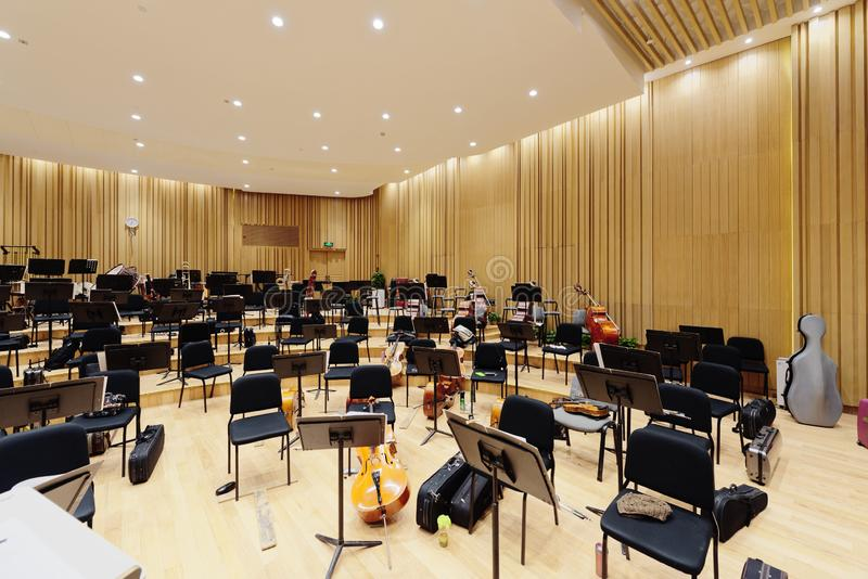 Symphony rehearsal room. Shanghai philharmonic orchestra rehearsal room by good acoustic design royalty free stock image