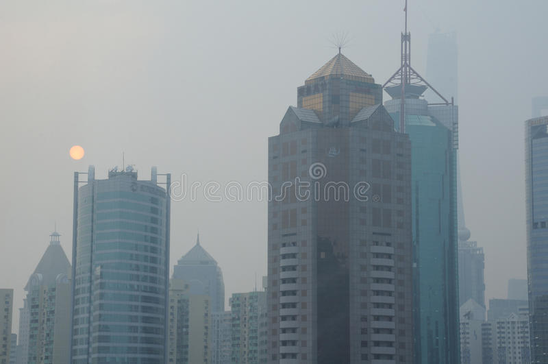 Shanghai Polluted Skyline royalty free stock photo