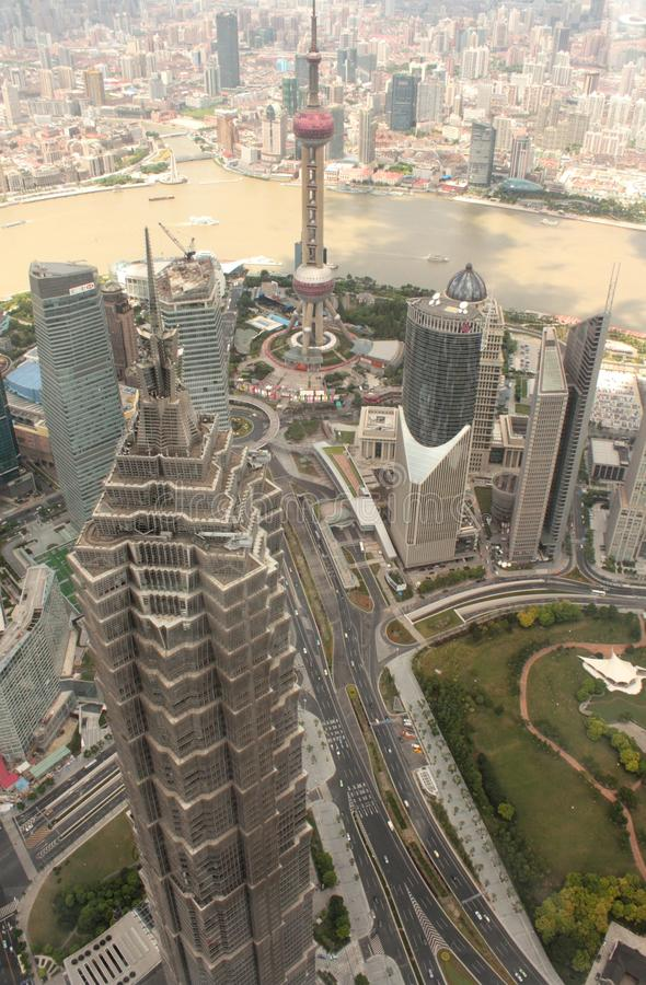 Shanghai Pudong aerial view royalty free stock images
