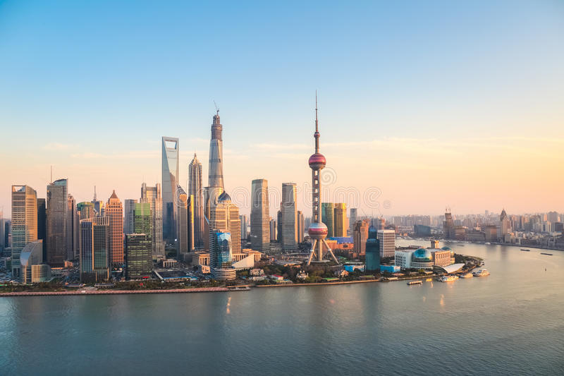 Shanghai pudong at dusk stock images