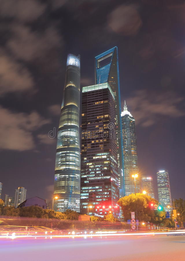 Shanghai Pudong financial district cityscape China. Shanghai Pudong financial district cityscape in Shanghai China stock photo