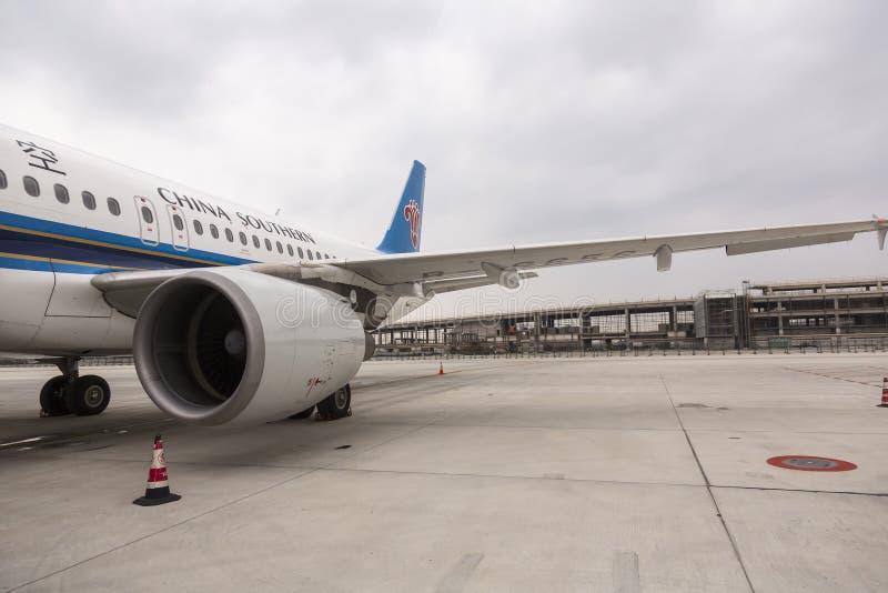 China Southern airplane at the Pudong airport in Shanghai, China royalty free stock photo