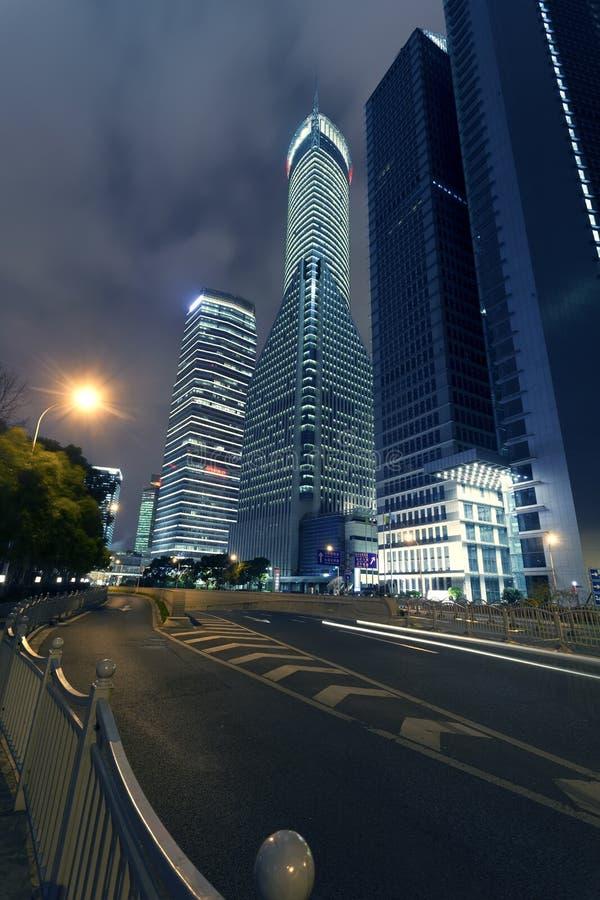 Shanghai Pudong, la notte della città immagini stock libere da diritti