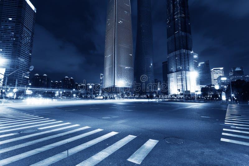 Shanghai Pudong, la notte della città immagini stock