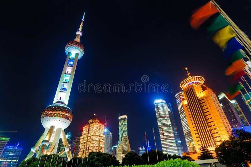 Shanghai Pudong-nacht stock afbeeldingen
