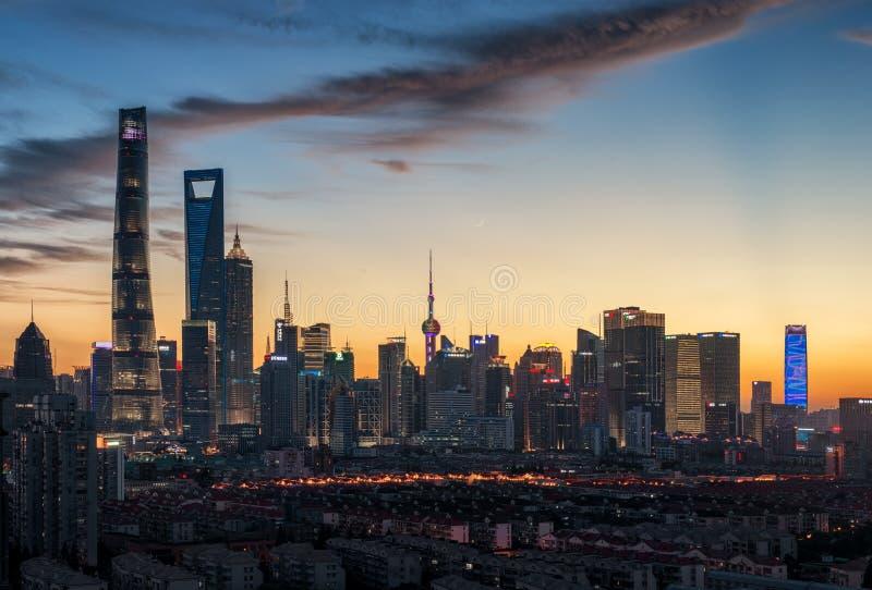 Shanghai Pudong nattplats arkivfoton