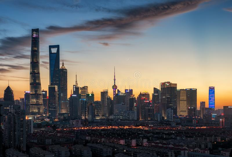 Shanghai Pudong night scene stock photos