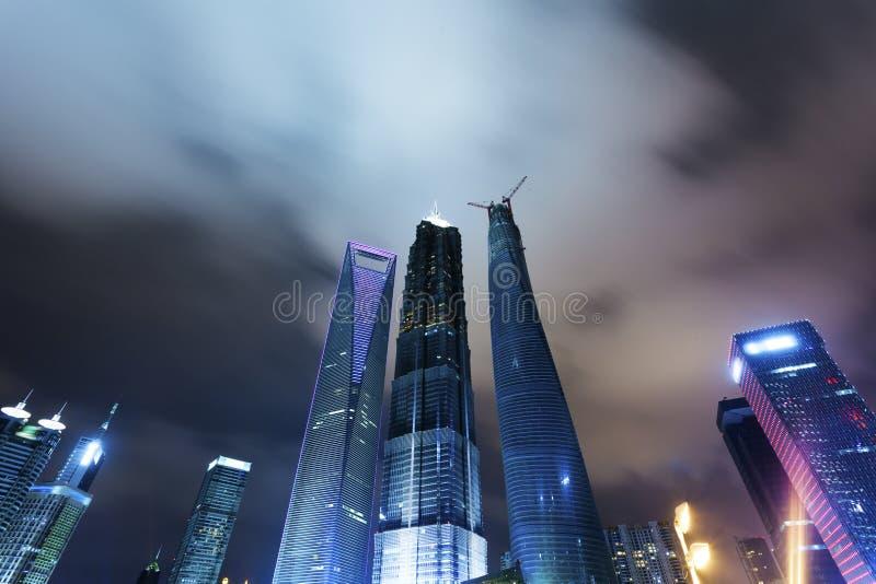 Shanghai Pudong, a noite da cidade fotografia de stock
