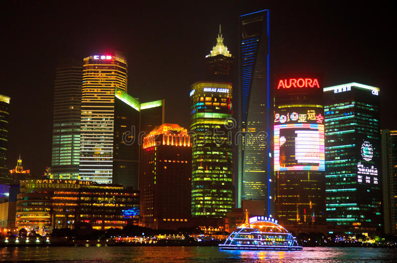 Download Shanghai Pudong Skyline At Night Editorial Photo - Image of city, architecture: 20787451