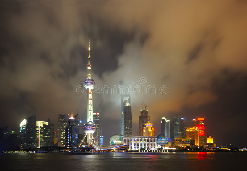 Shanghai Pudong skyline at night. View of Shanghai Pudong skyline at night royalty free stock images