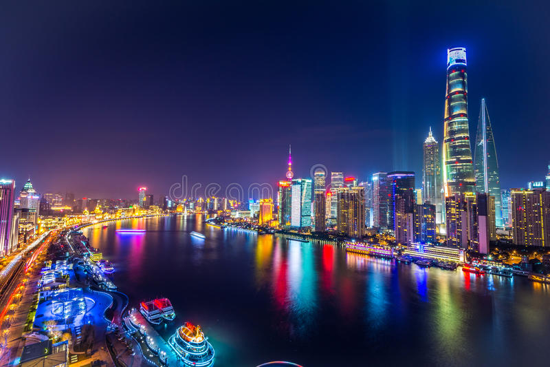Shanghai Pudong Skyline at night, China royalty free stock photos