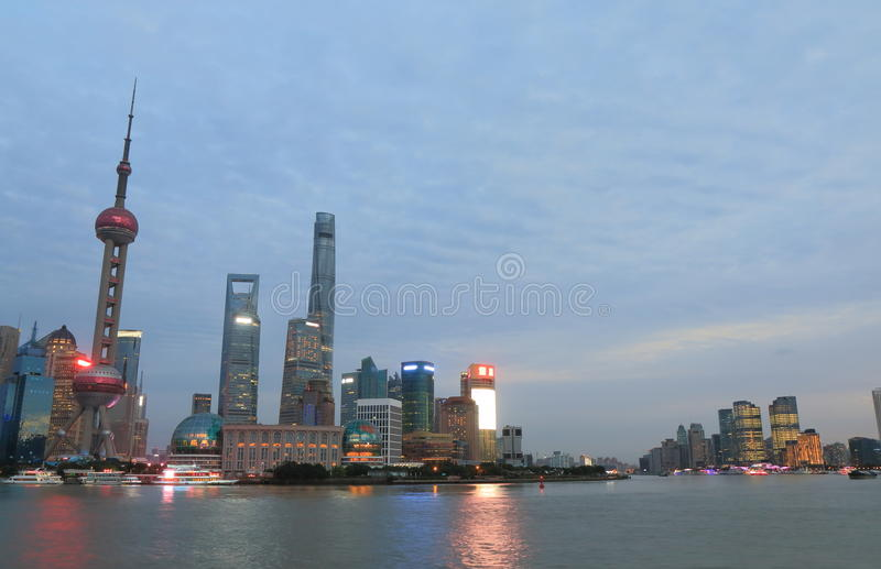 Shanghai Pudong-wolkenkrabberscityscape China royalty-vrije stock foto