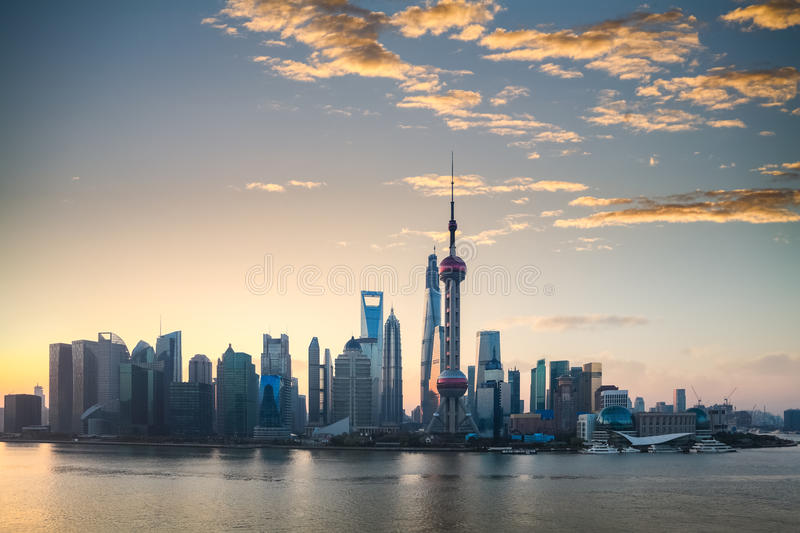 Shanghai skyline in a beautiful morning royalty free stock photo