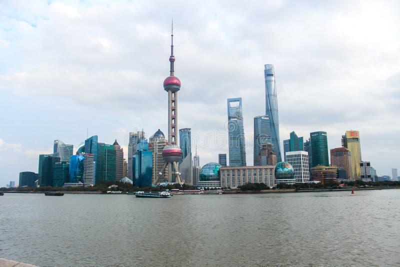 Shanghai skyline from the bund china royalty free stock image