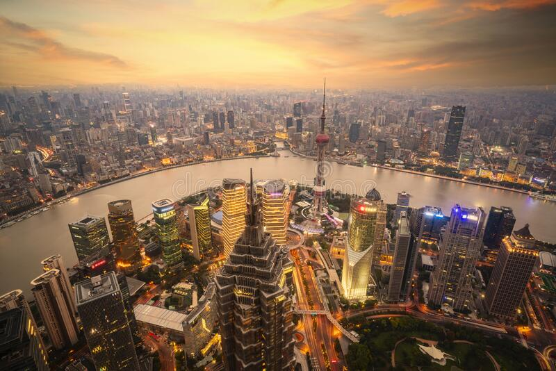 Shanghai skyline city scape, Shanghai luajiazui finance and business district. Trade zone skyline, Shanghai China royalty free stock image