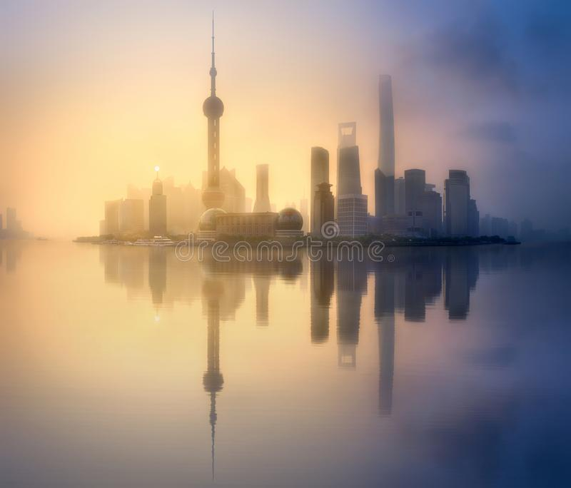 Download Shanghai skyline cityscape stock photo. Image of business - 100293278