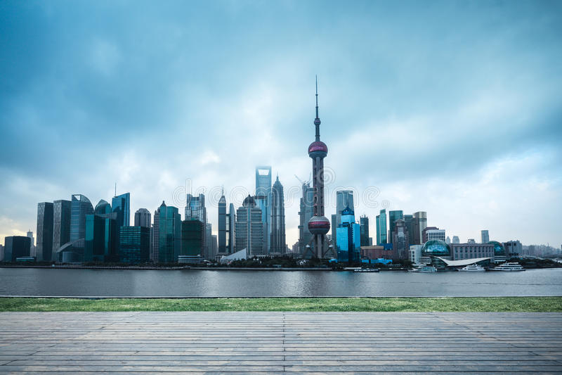 Shanghai skyline in cloudy stock photos