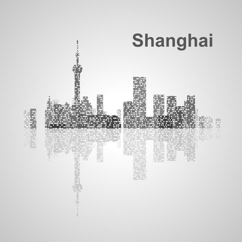 Shanghai-Skyline für Ihr Design lizenzfreie stockfotos