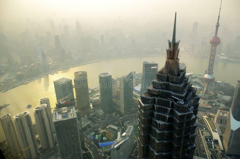 Shanghai skyline in the fog