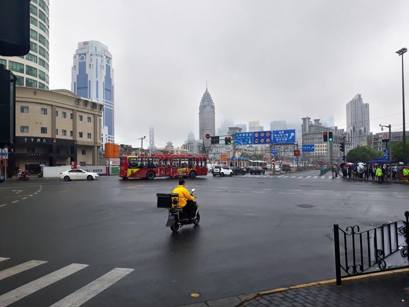 Shanghai skyline in the fog. stock image