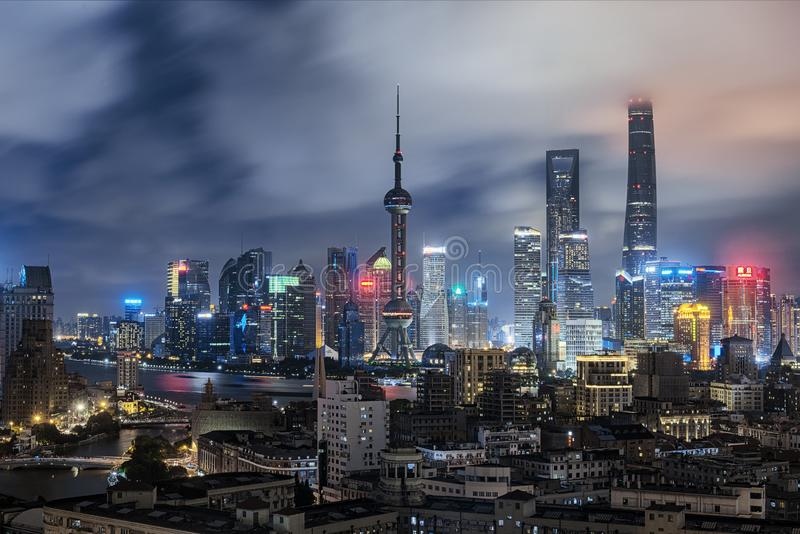 Shanghai skyline at late night stock images
