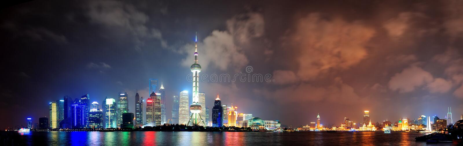 Download Shanghai skyline at night stock image. Image of cityscape - 27042503