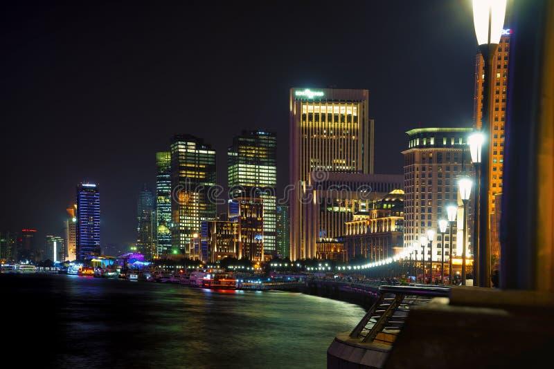 Shanghai skyline night stock photos