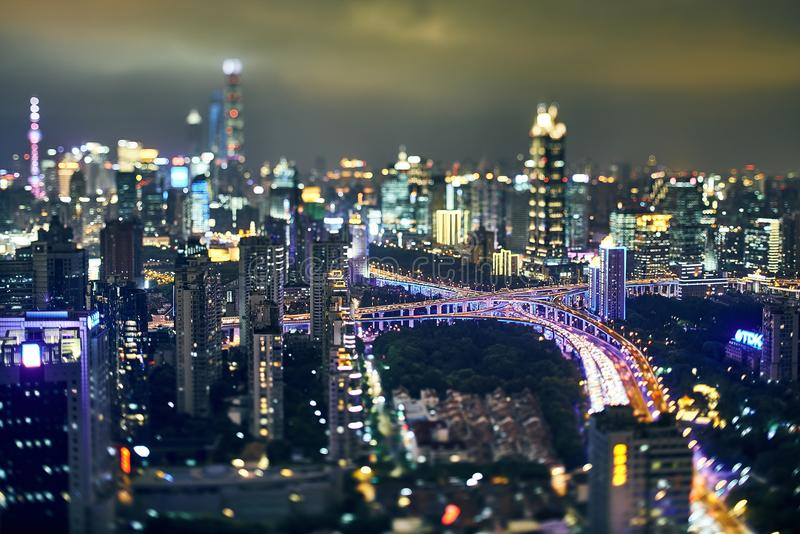 Shanghai skyline night scene Top view royalty free stock photos