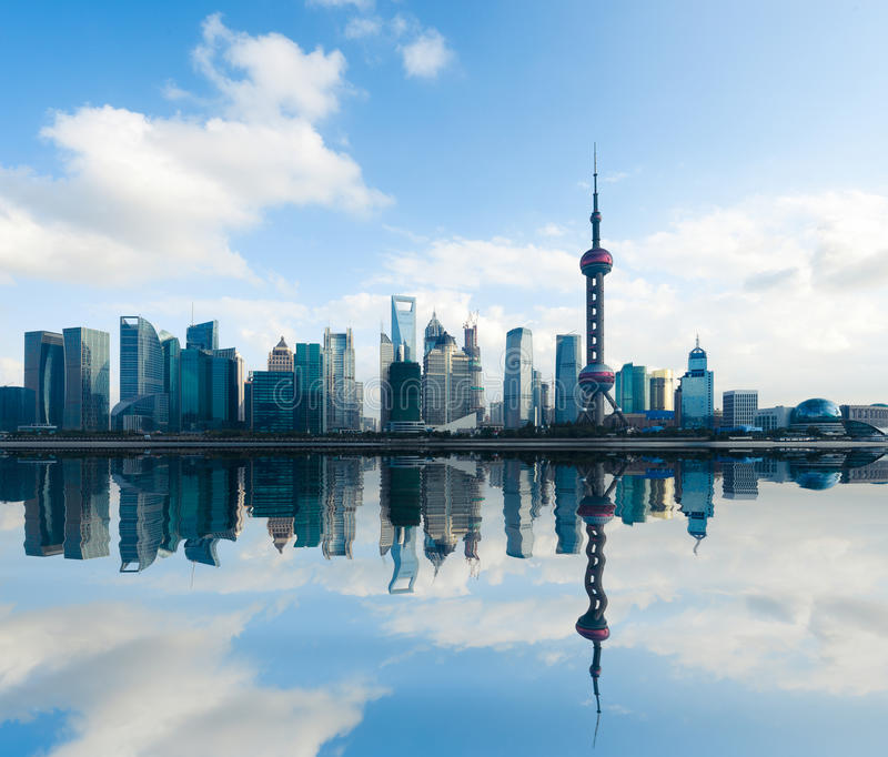 Shanghai Skyline With Reflection At Daytime Stock Photo