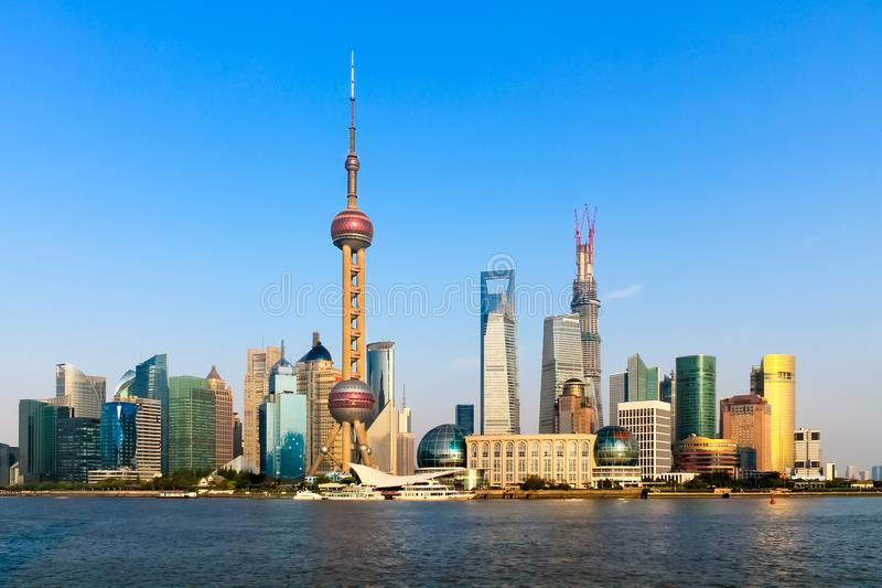Shanghai Skyline. Shanghai Pudong district riverside with skyscrapers royalty free stock photography