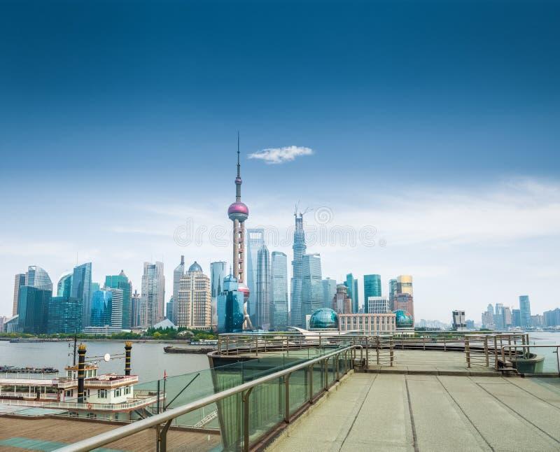 Shanghai skyline and a sightseeing platform stock photo