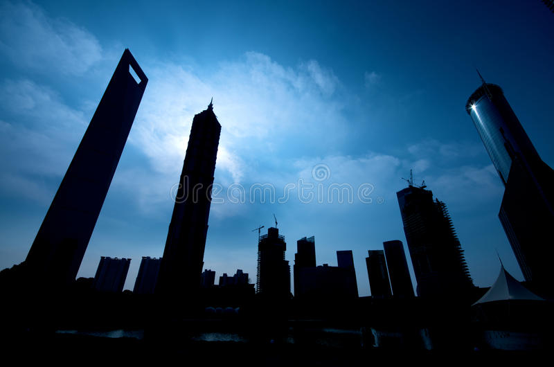 Shanghai Skyline in Silhouette royalty free stock images