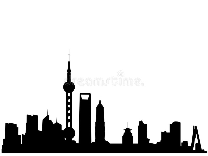 Shanghai skyline silhouette. Vectored illustration as silhouette of the chinese city of shanghai, by borders of the skyline, with skyscrapers and towers