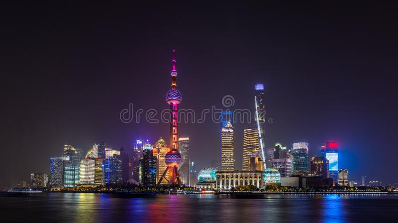 Shanghai skyline and skyscraper, Shanghai modern city in China on the Huangpu River.  royalty free stock photo