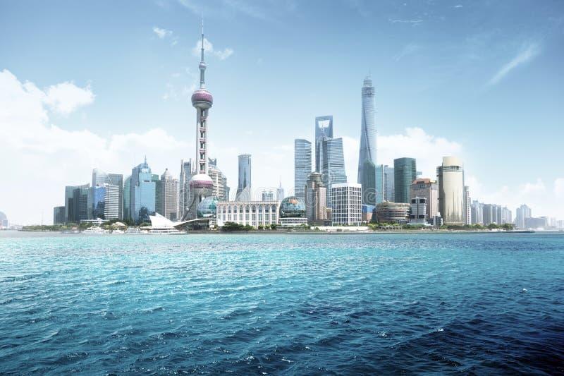 Shanghai skyline in sunny day. China stock image