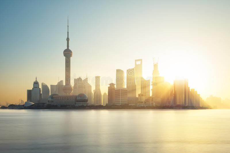 Shanghai skyline, China. Shanghai skyline at sunrise, China stock photo