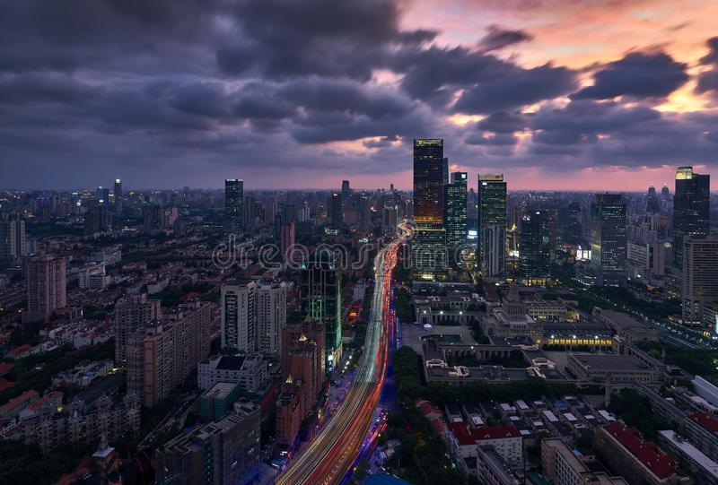 Shanghai skyline in twilight. ,The viaduct in the picture runs across Shanghai and is the most important city expressway in the city. The tall buildings in