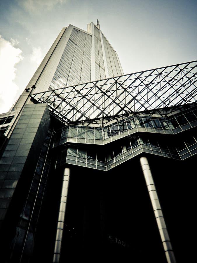 Shanghai skyscraper. Glass & concrete skyscraper shot from ground level in Shanghai, China stock photos